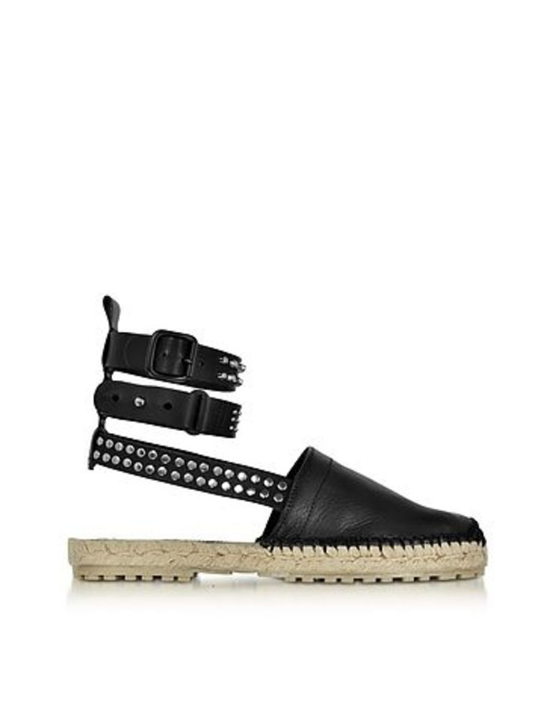DSquared2 - Rock & Cross Black Leather Ankle Wrap Flat Espadrilles w/Studs