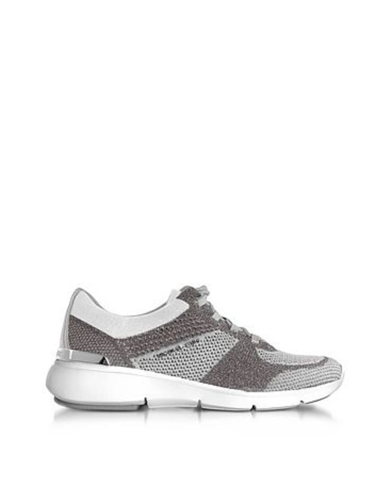 Michael Kors - Skyler Silver and Optic White Knit Lace-up Trainers