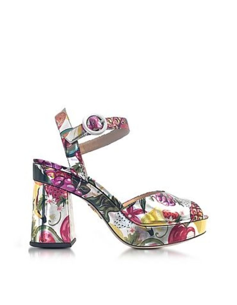 Charlotte Olympia - Into The Wild Fruit Salad Print Metallic Leather Platform Sandal