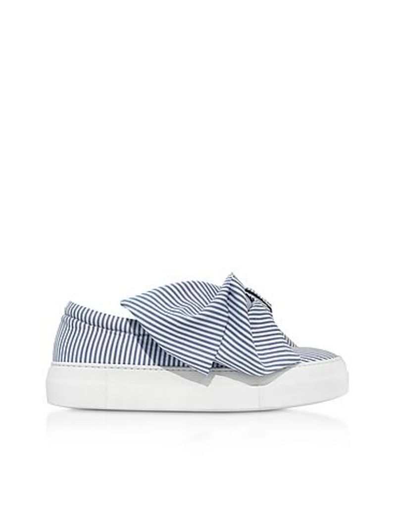Joshua Sanders - Skinny Stripes Bow Cotton Slip on Sneakers