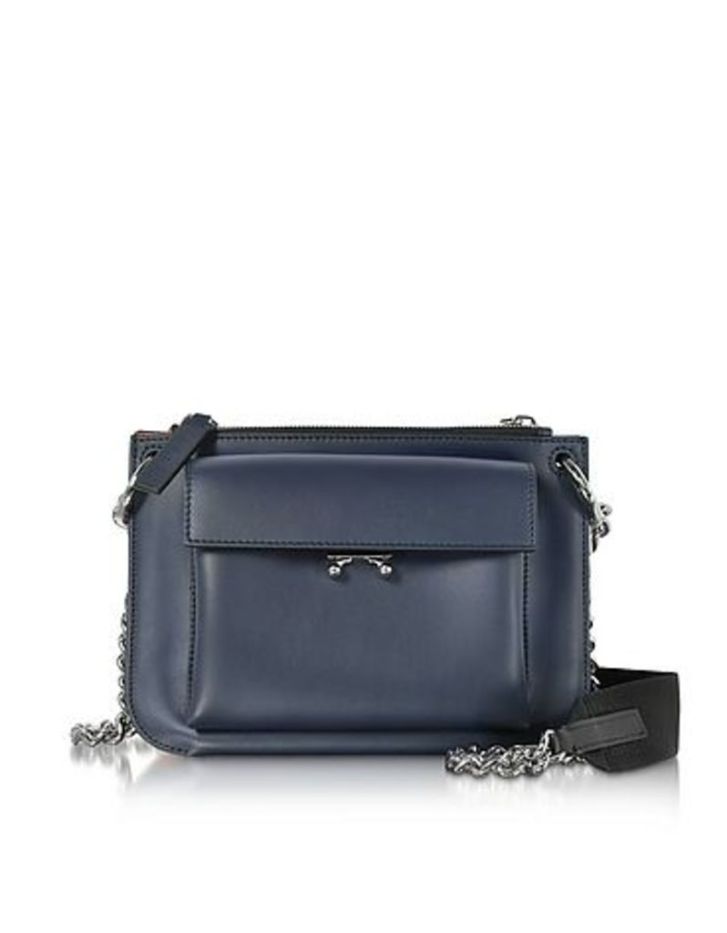 Marni - Blue China and Hot Red Leather Pocket Bandoleer Bag