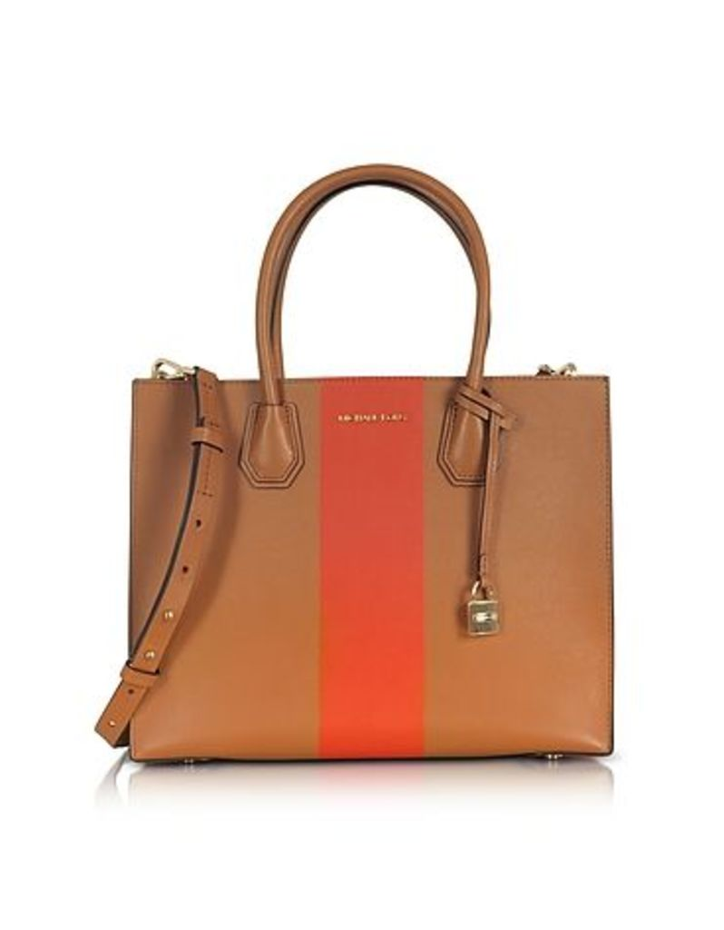 Michael Kors - Mercer Large Acorn & Orange Center Stripe Leather Convertible Tote Bag