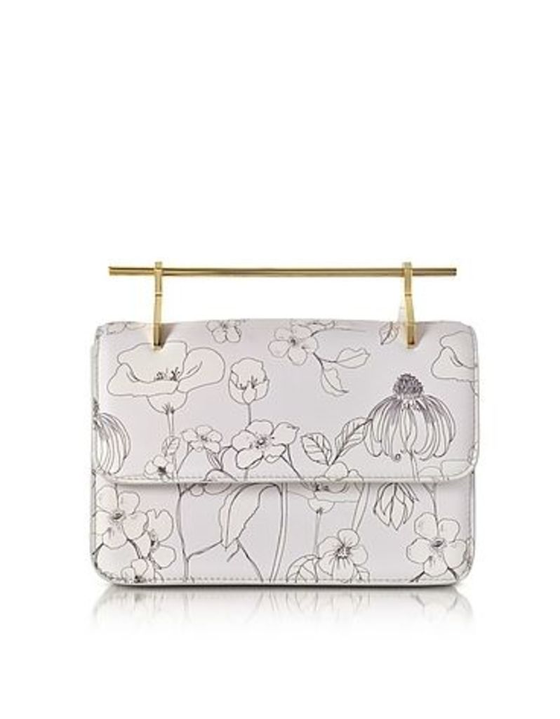 M2Malletier - La Fleur du Mal Printed Flowers Cool Gray Leather Clutch