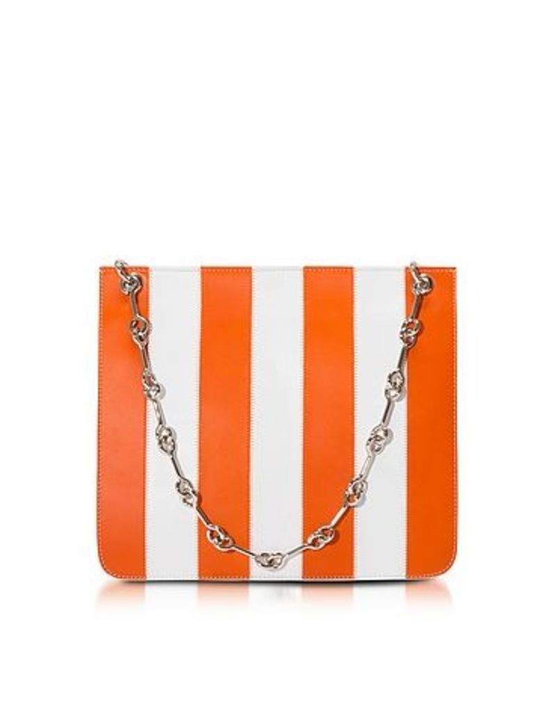 Corto Moltedo - Jesse Stripes Persimmon and White Shoulder Bag