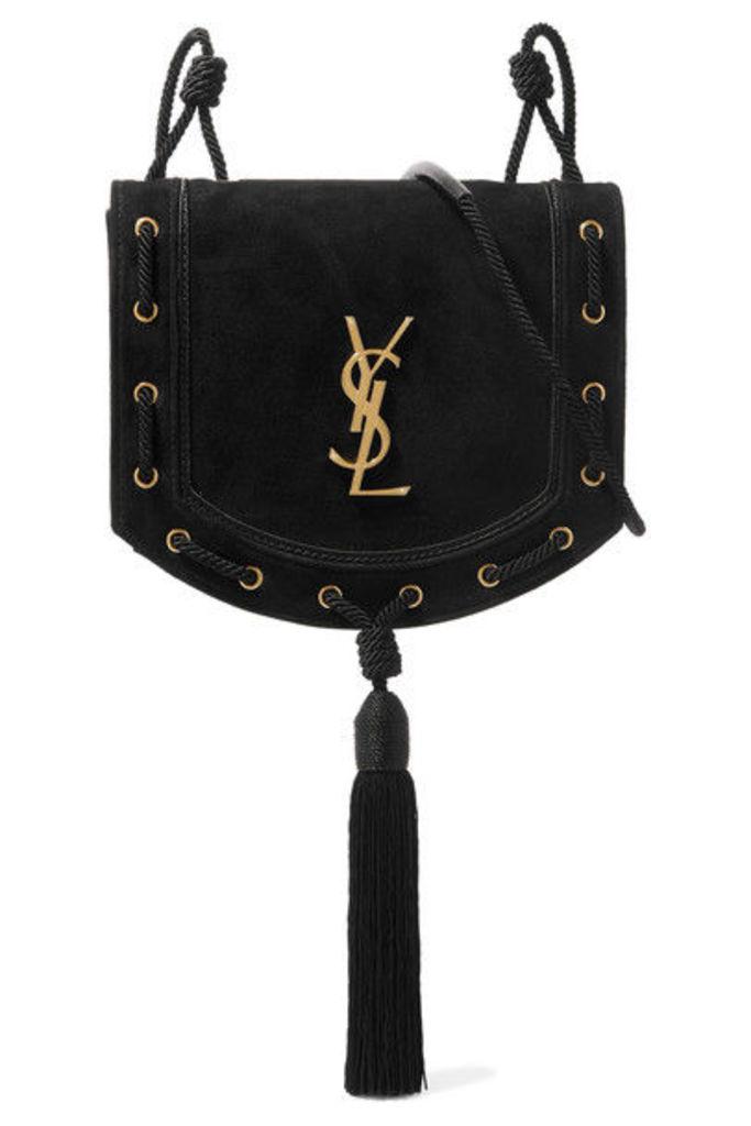 Saint Laurent - Monogramme Fetish Suede Shoulder Bag - Black