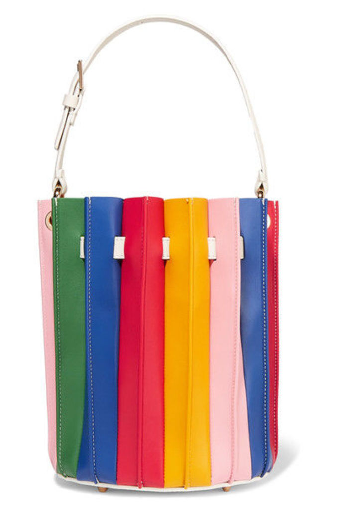 Sara Battaglia - Plisse Leather Bucket Bag - Red