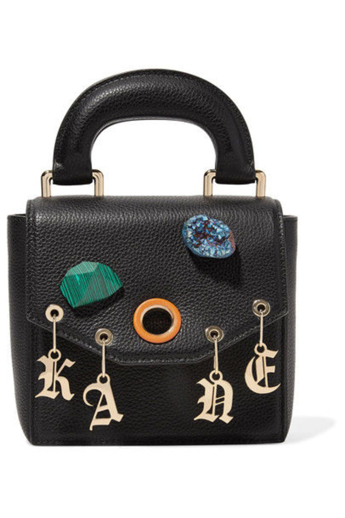Christopher Kane - Gypsy Bonnie Embellished Textured-leather Tote - Black