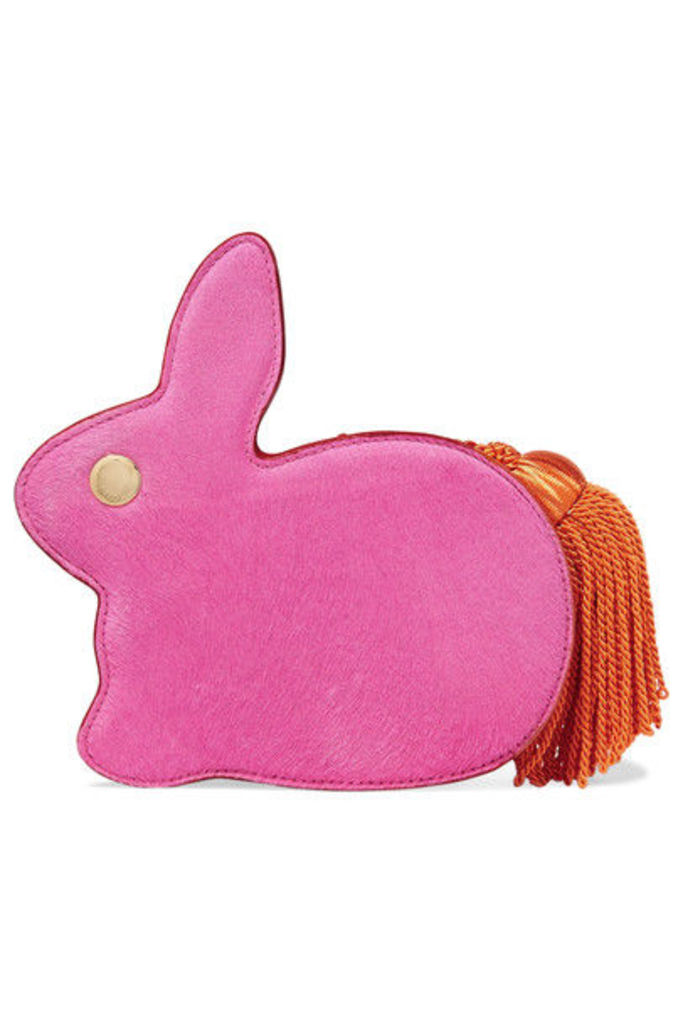 Hillier Bartley - Bunny Calf Hair And Leather Clutch - Pink