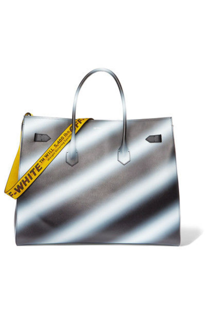 Off-White - Extra Large Printed Textured-leather Tote - Black