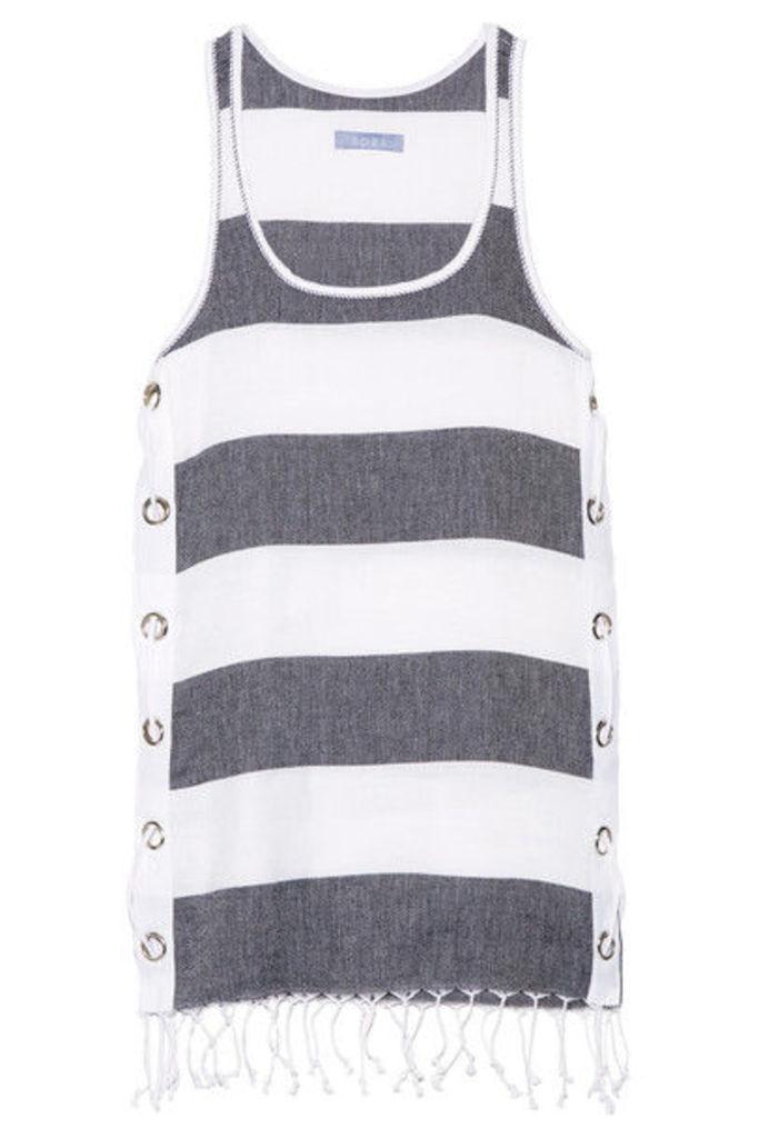 Koza - Lebron Fringed Striped Cotton Mini Dress - White