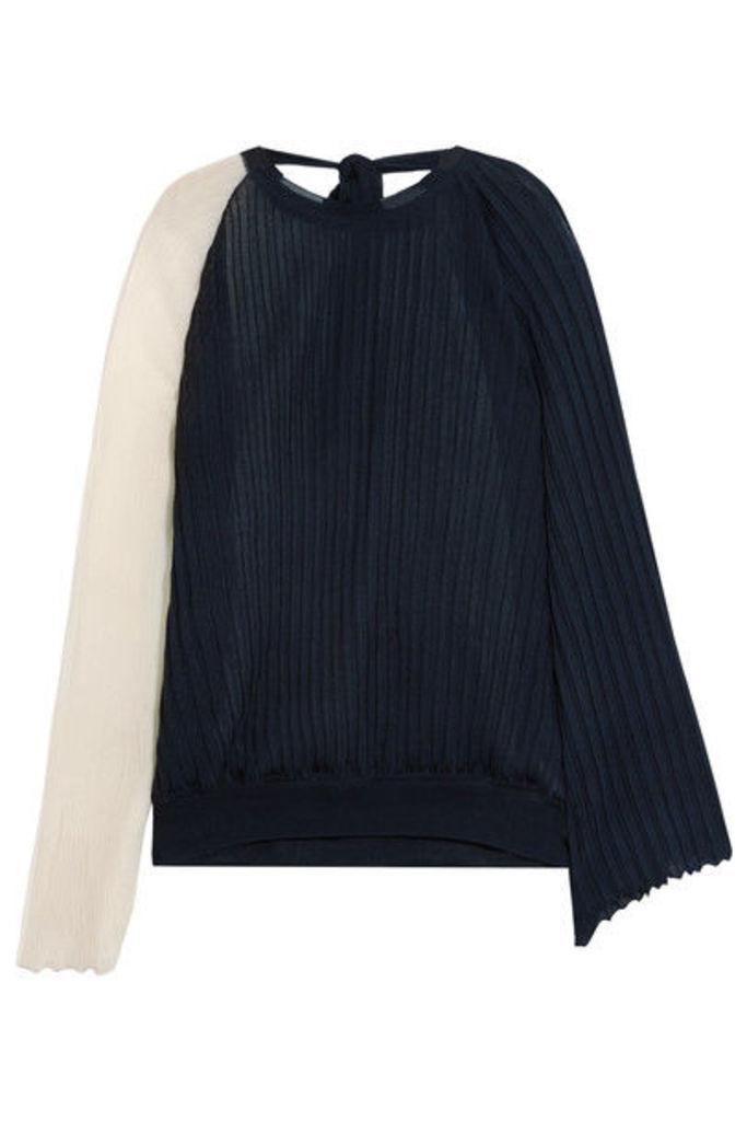 Marni - Two-tone Plissé Silk And Cotton-blend Top - Navy