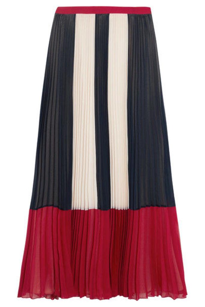 REDValentino - Color-block Plissé Chiffon Maxi Skirt - Blue