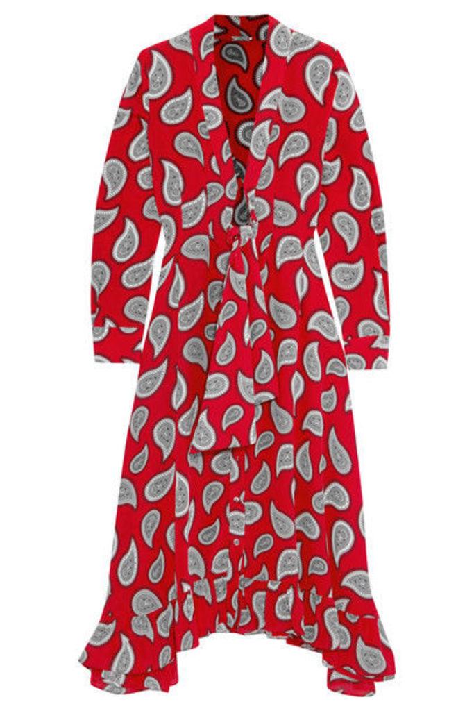 Dodo Bar Or - Lennon Paisley-print Silk-crepe Midi Dress - Red