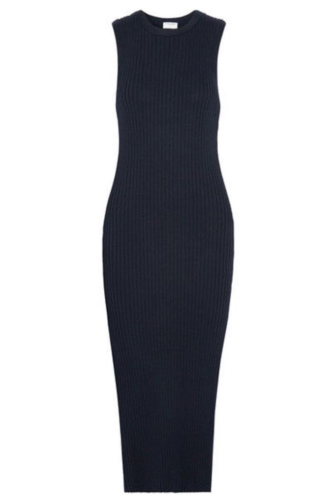 FRAME - Ribbed-knit Stretch-cotton Midi Dress - Midnight blue