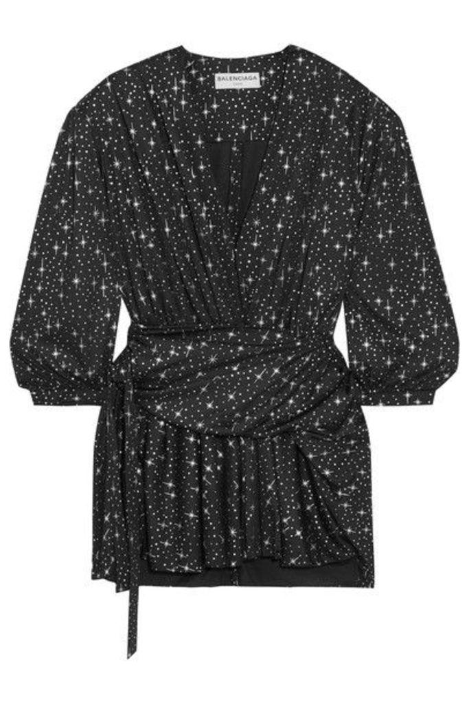Balenciaga - Draped Metallic Printed Stretch-jersey Mini Dress - Black