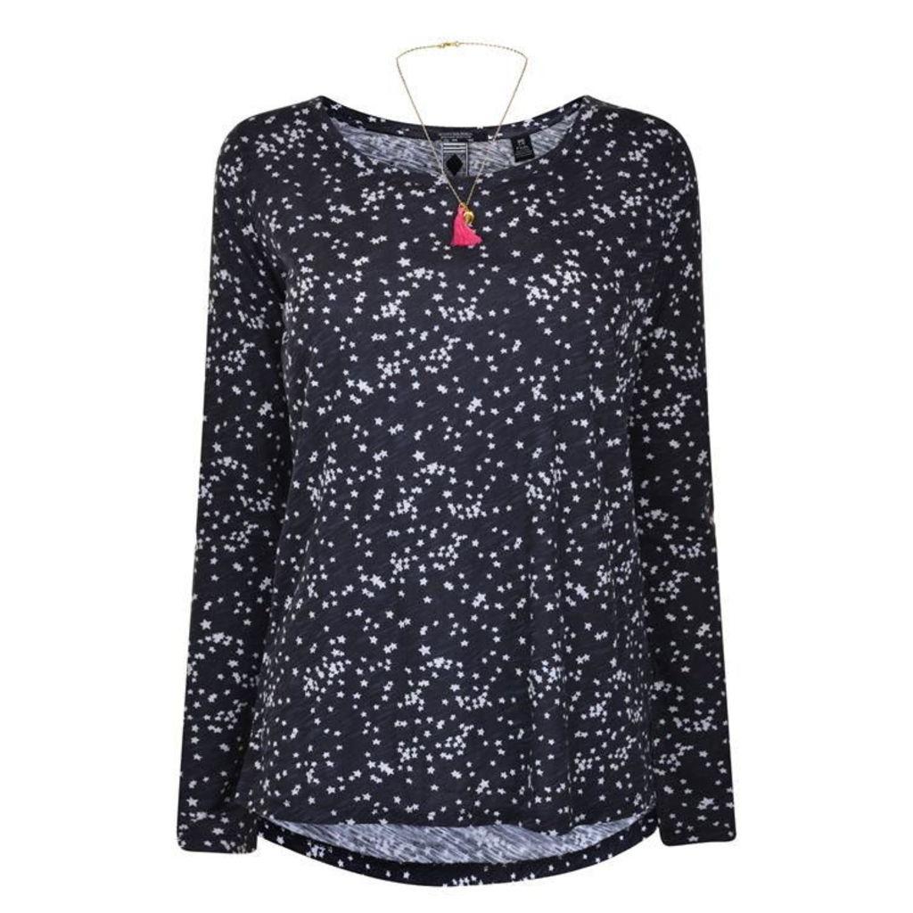 MAISON SCOTCH Long Sleeved Star Print T Shirt