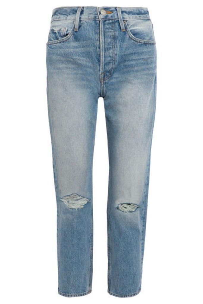 FRAME - Rigid Re-release Le Original Distressed High-rise Straight-leg Jeans - Blue