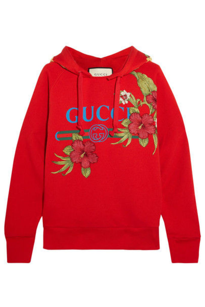 Gucci - Embroidered Printed Cotton-jersey Hooded Top - medium