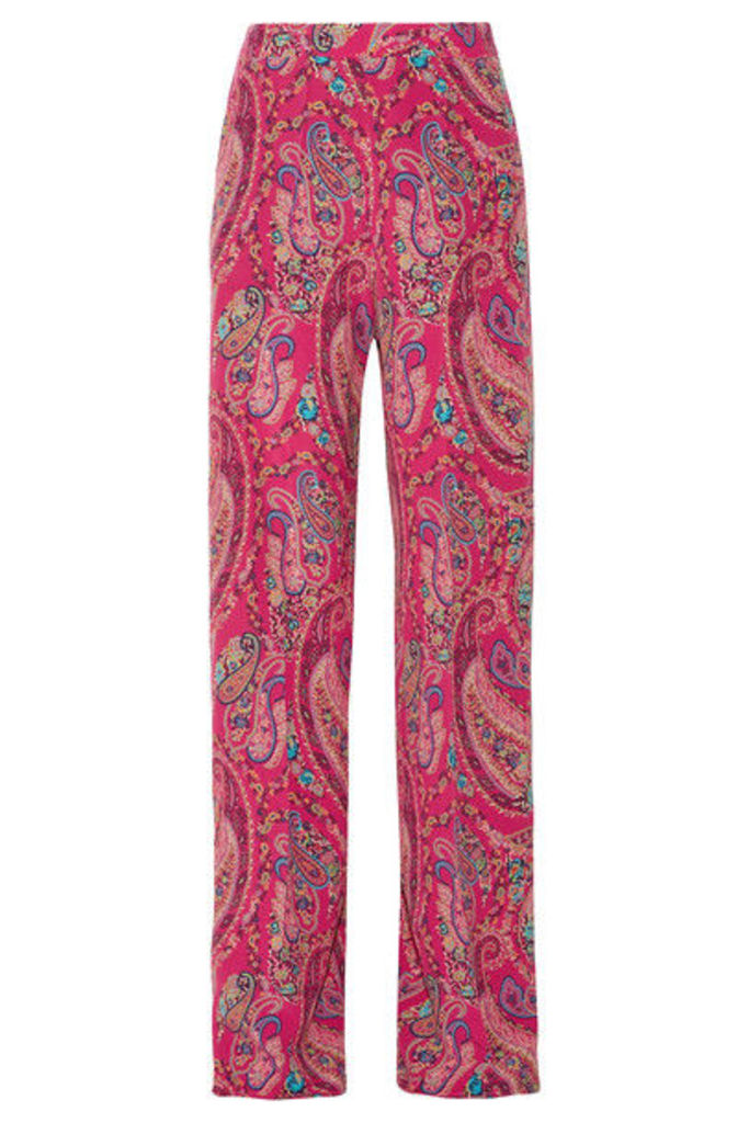 Etro - Printed Silk Crepe De Chine Wide-leg Pants - Magenta