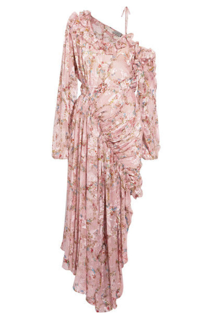 Preen by Thornton Bregazzi - Erchart One-shoulder Ruffled Fil Coupé Silk-blend Dress - Blush