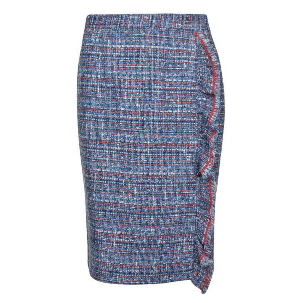 BOUTIQUE MOSCHINO Tweed Frill Pencil Skirt