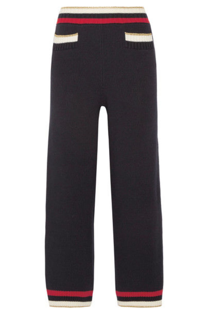 Gucci - Striped Knitted Cotton-blend Straight-leg Pants - Midnight blue
