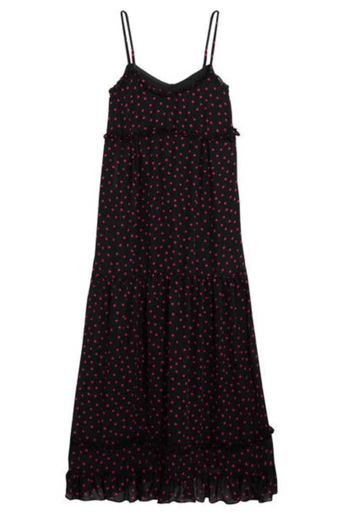 McQ Alexander McQueen - Ruffled Polka-dot Georgette Midi Dress - Black