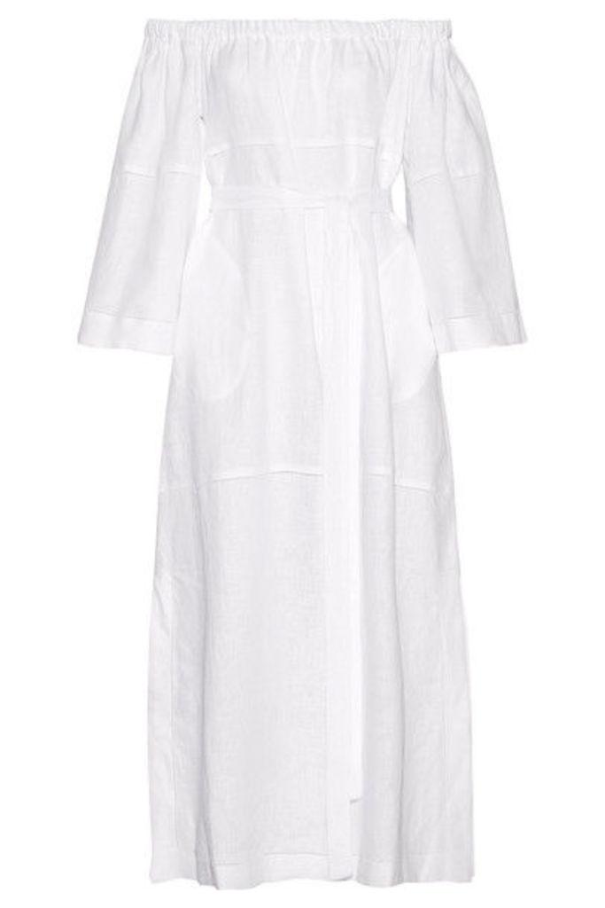 Lisa Marie Fernandez - Off-the-shoulder Pointelle-trimmed Linen-gauze Maxi Dress - White