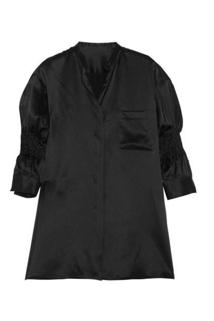 Haider Ackermann - Smocked Silk-satin Shirt - Black