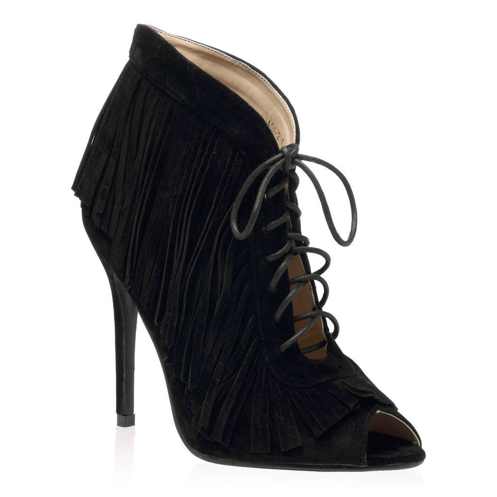 Keeley Heeled Ankle Boots  Faux Suede, Black