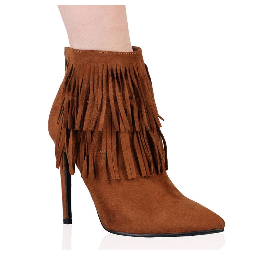 Bridget Ankle Boots  Faux Suede, Brown