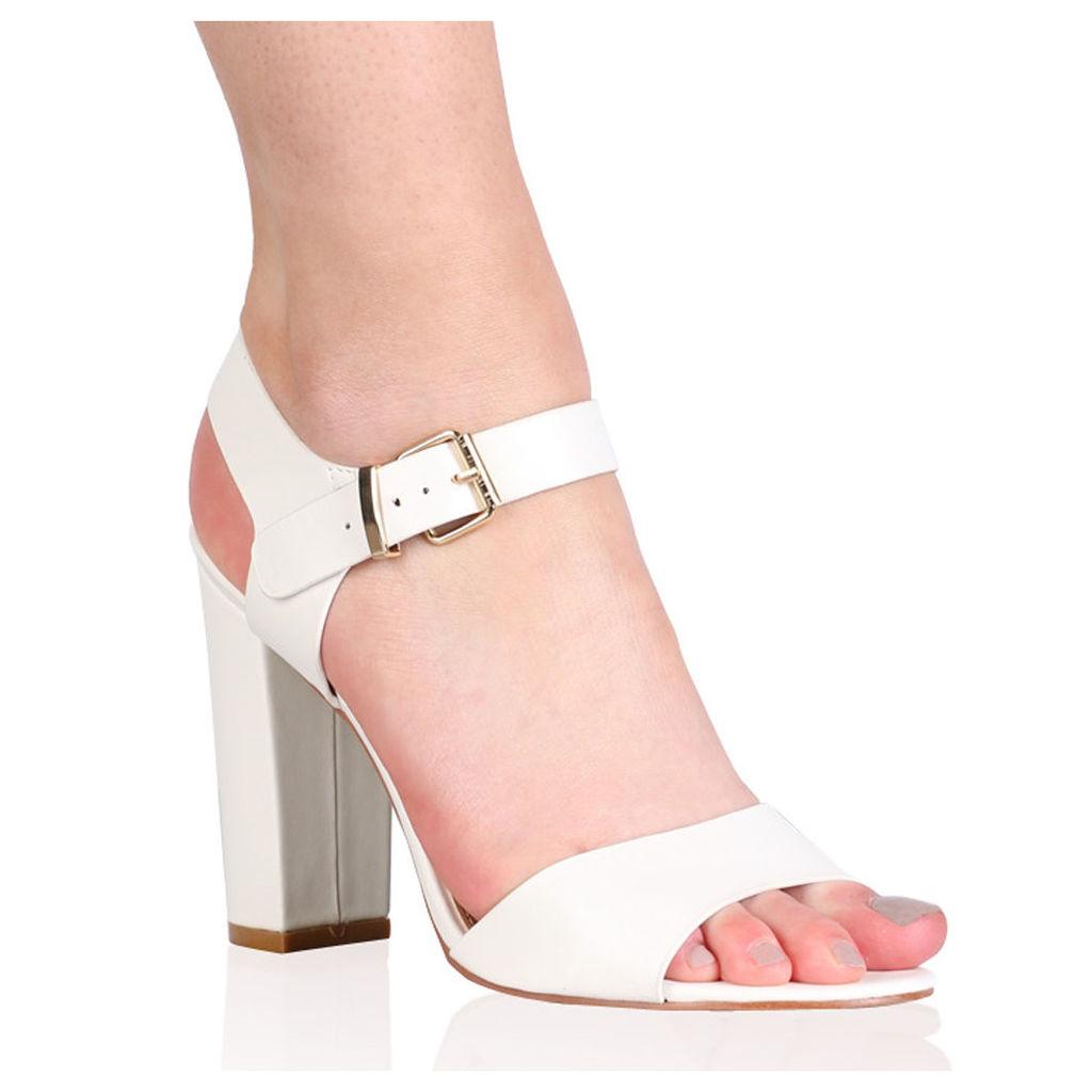 Alicia Block Heels, White