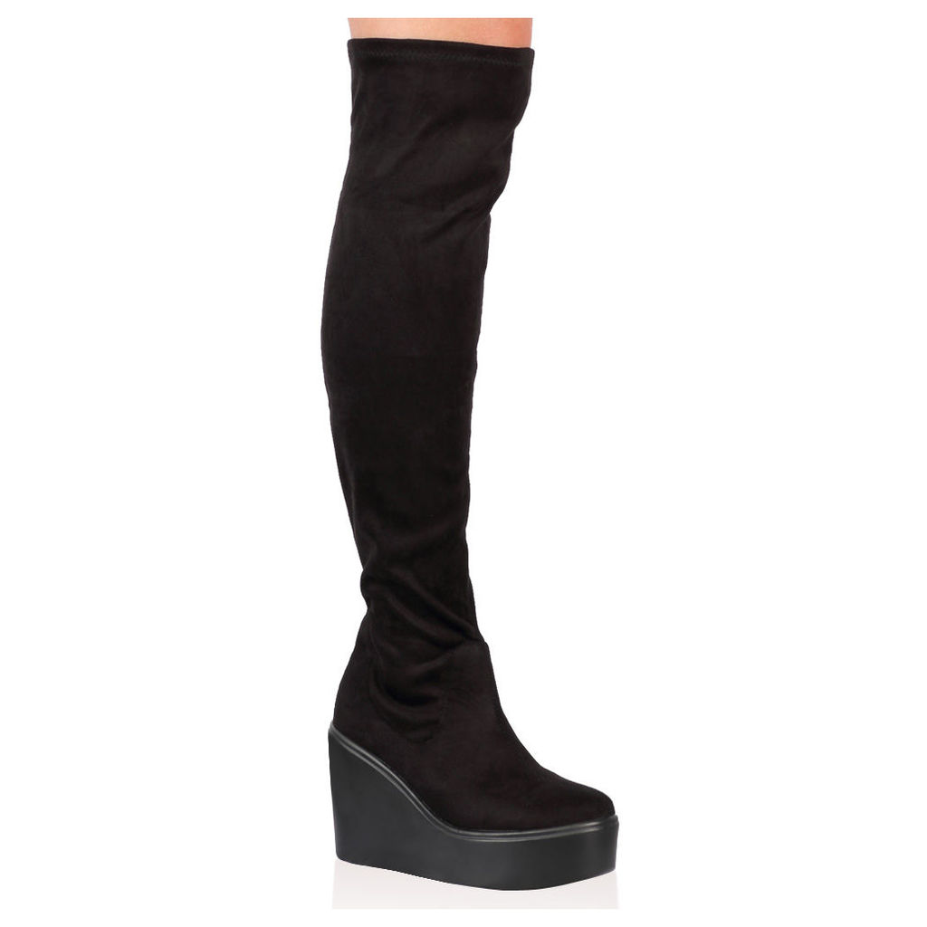 Sana Over The Knee Boots  Faux Suede, Black