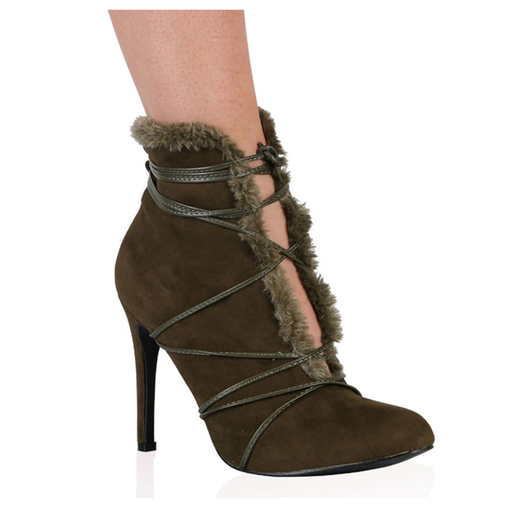 Elora Ankle Boots in Khaki, Green