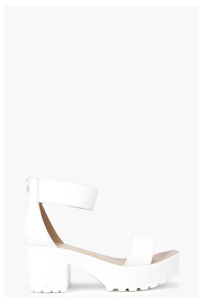 Ankle Strap Cleated Sandal - white