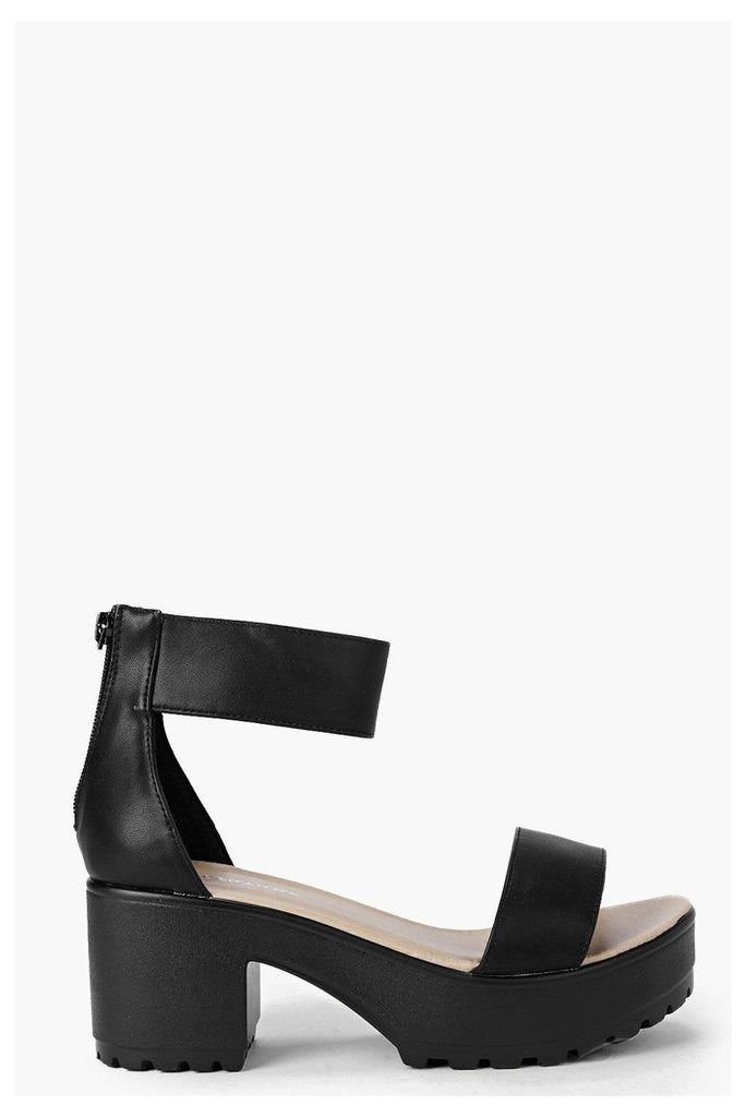Ankle Strap Cleated Sandal - black