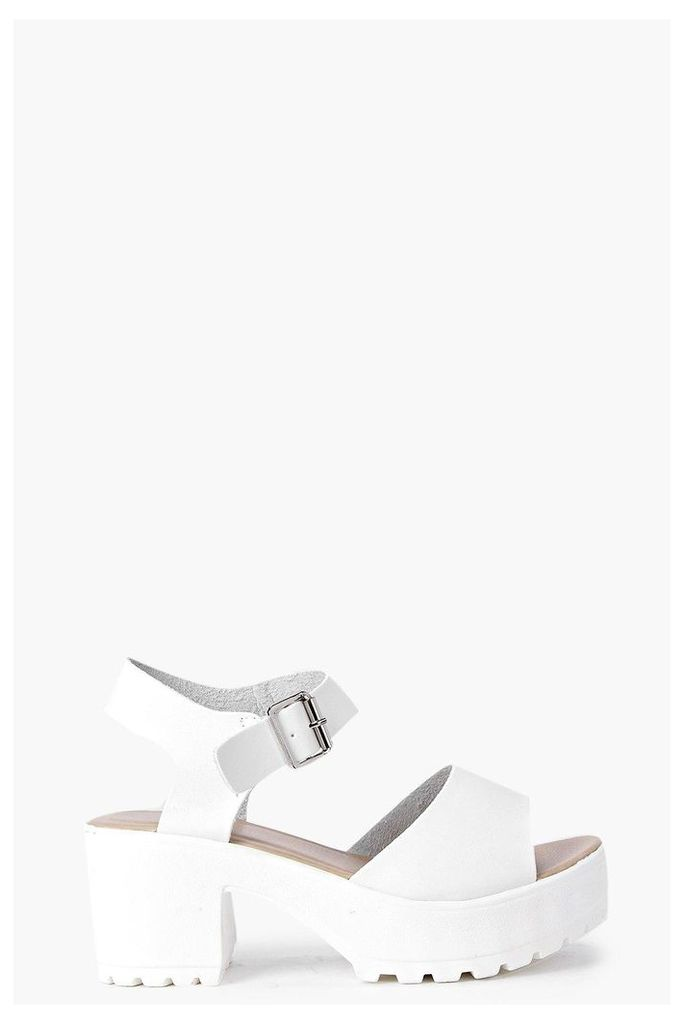 Peeptoe Two Part Cleated Sandal - white