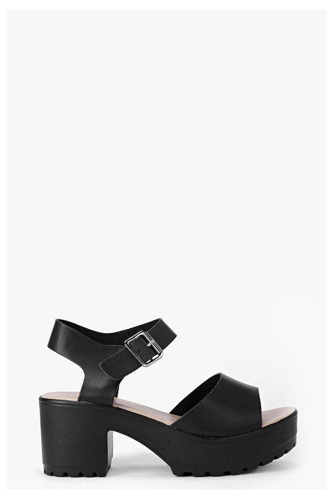 Peeptoe Two Part Cleated Sandal - black