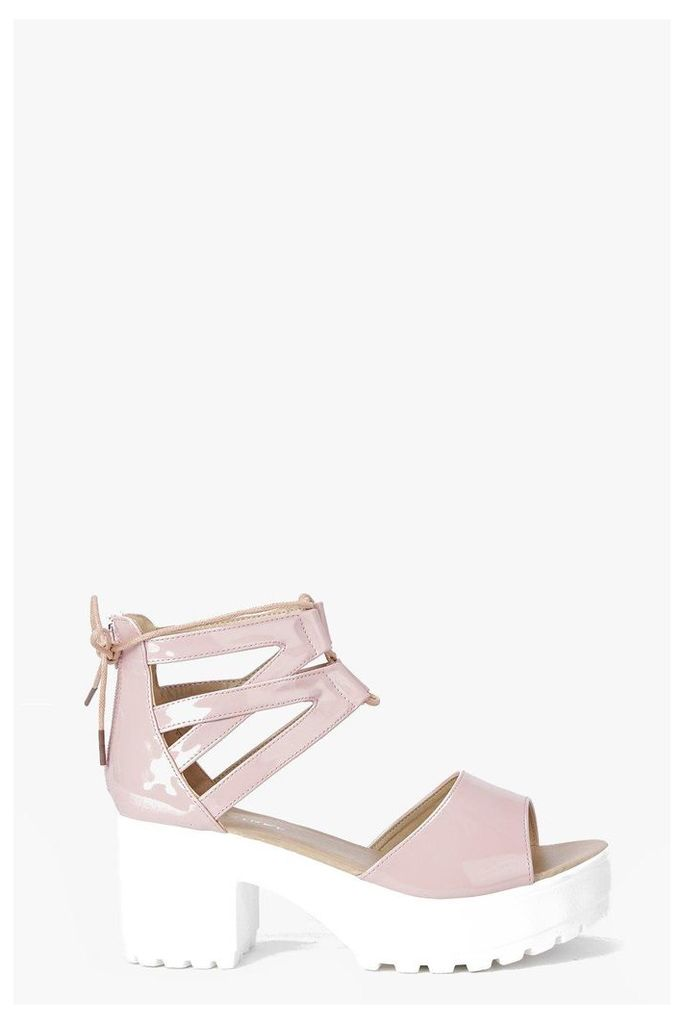 Lace Up Two Part Cleated Sandal - nude