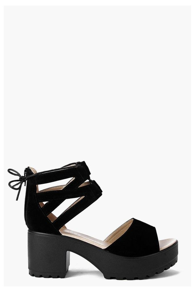 Lace Up Two Part Cleated Sandal - black