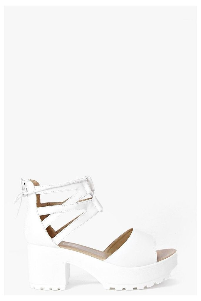 Lace Up Two Part Cleated Sandal - white