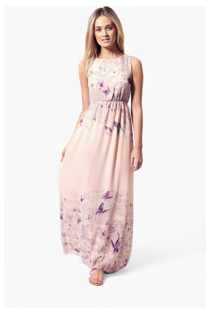 Tie Back Border Print Butterfly Maxi Dress - nude