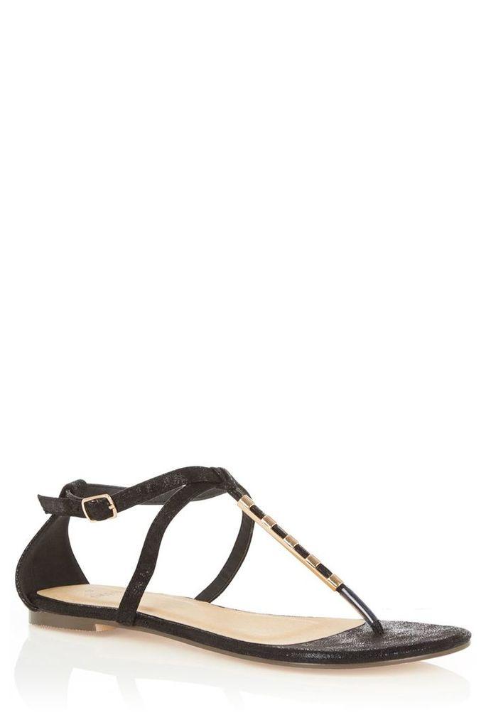 Oasis Taffy Metal Bar Sandals, Black