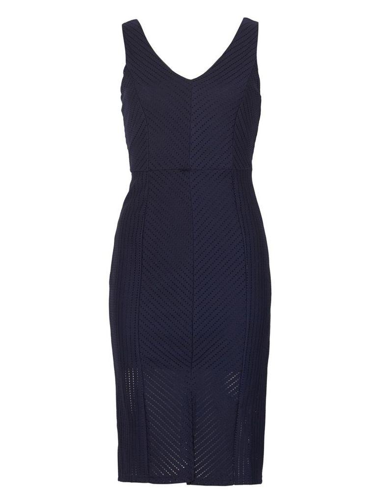 Izabel London V-Front Panelled Dress, Navy