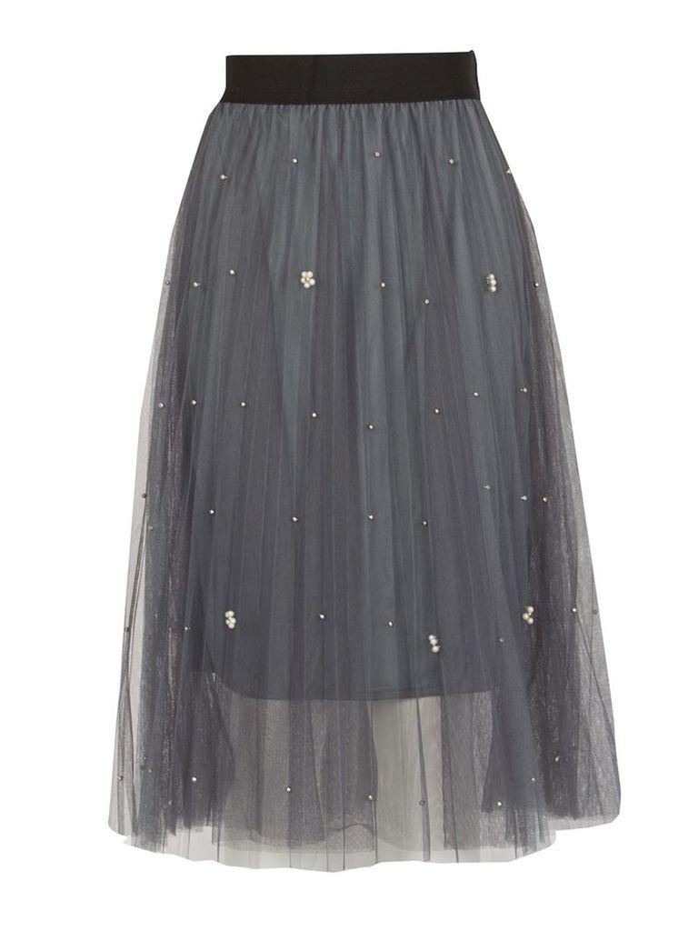 TENKI Beads Insert Pleated Net Midi Skirt, Grey