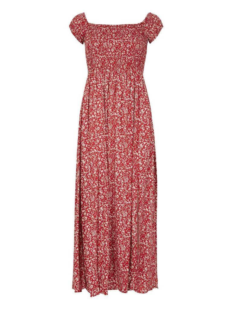 Izabel London Smocked Maxi Dress, Red
