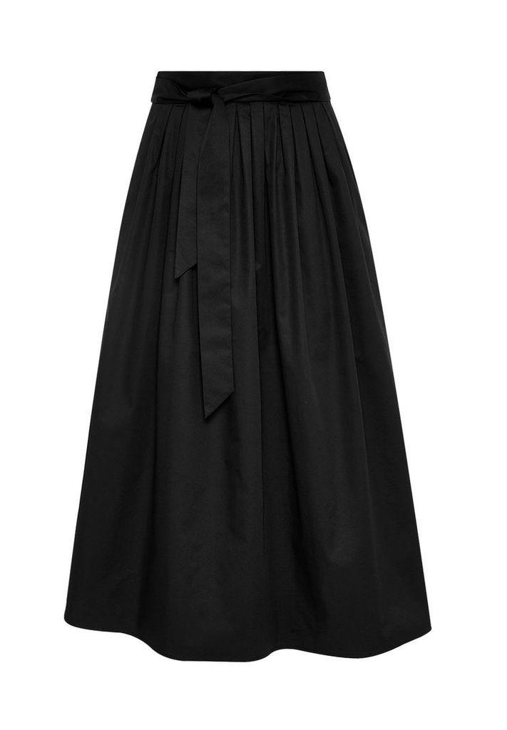 Hallhuber Midi skirt with box pleat and belt, Black