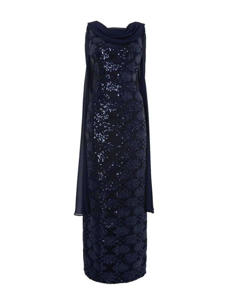 Tahari ASL Sequin Gown With Chiffon Cape, Navy