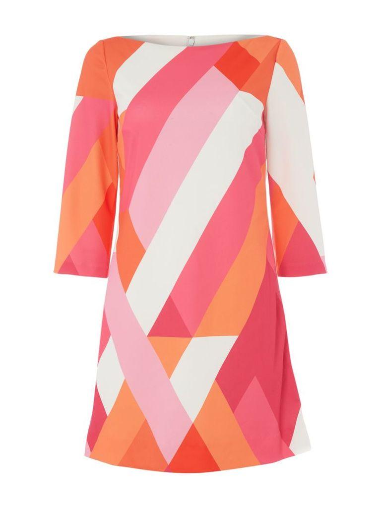 Tahari ASL Virant Geometric Print Dress, Multi-Coloured