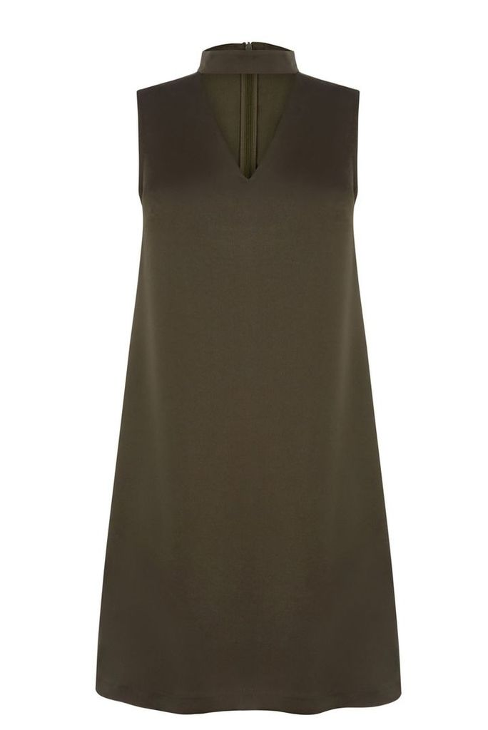 Oasis Choker V Neck Dress, Khaki